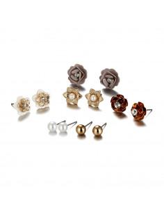 Set 6 perechi de cercei eleganti, flori mici cu cristale si perle