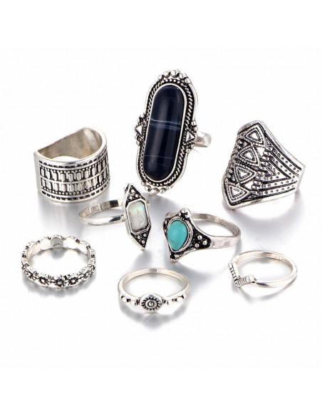 Set 8 inele etnice, cu pietre albastre si model geometric
