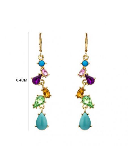 Cercei eleganti lungi, Allegria, aurii cu cristale colorate