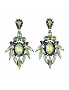 Cercei eleganti Hop Flowers, flori din cristale verde pal si gri