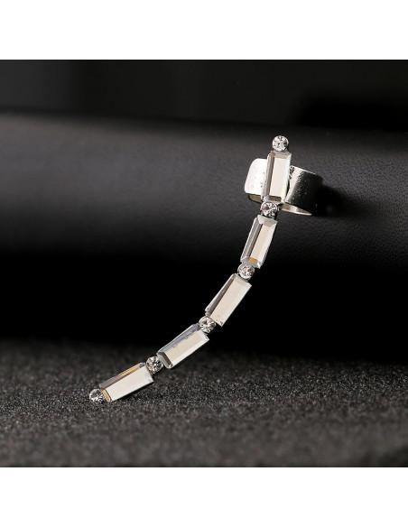 Cercel ear cuff elegant, 5 cristale albe dreptunghiulare