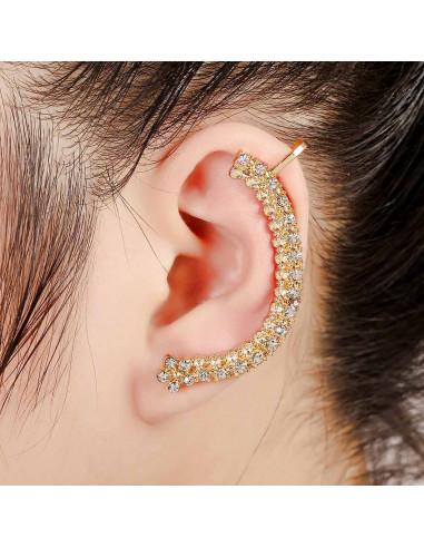 Cercel ear cuff arcuit, un rand de cristale si unul de floricele