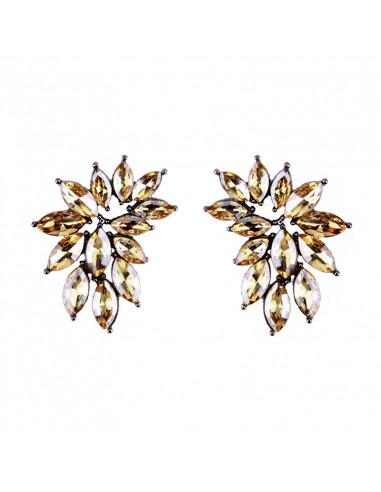 Cercei eleganti Crystal Wings, semicerc cu cristale fatetate cat-eye