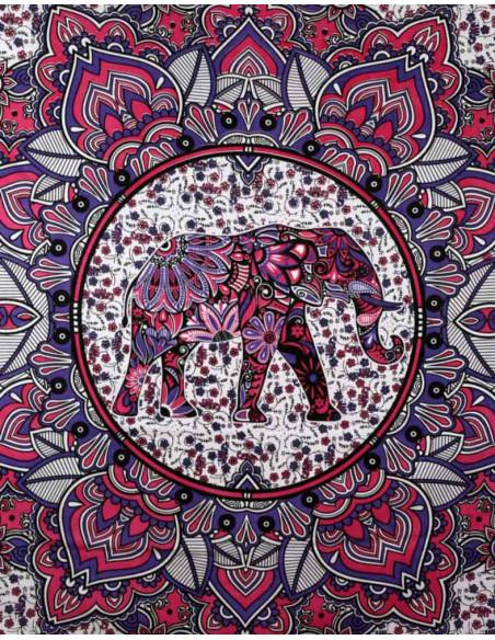 Cearceaf de plaja cu model elefant cu flori, roz, negru si albastru
