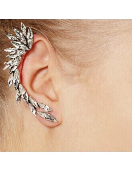 Cercel ear cuff Spike, cu cristale albe ascutite, arcuit pe ureche