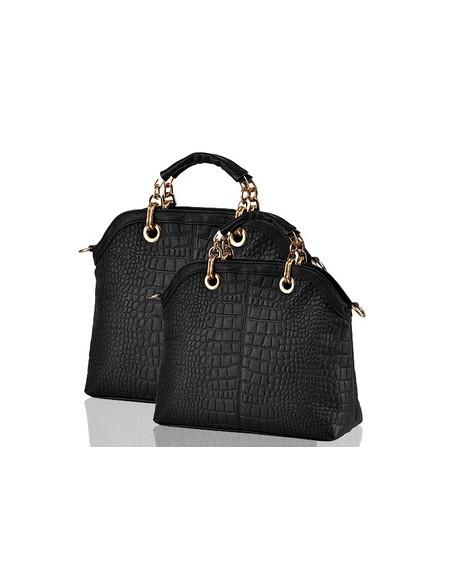 Geanta neagra eleganta, din material imprimeu crocodil, cu maner auriu metalic