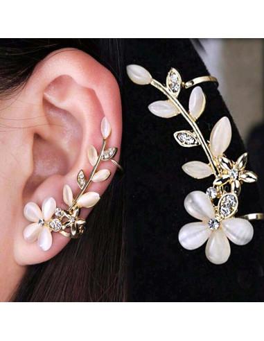 Cercel ear cuff ramura cu flori de cires si cristale