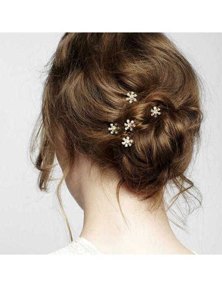Agrafe de par pentru mireasa, flori rotunde cu cristale stralucitare