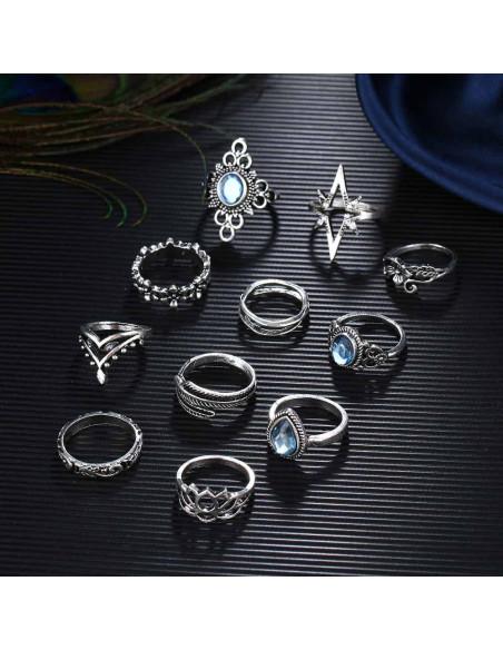 Set 11 inele boho argintii, cu flori, frunze, stea si cristale bleu