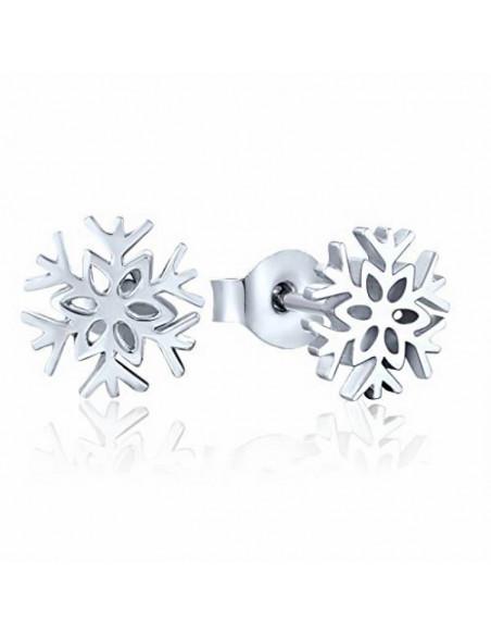 Cercei placati cu argint, fulgi mici de zapada