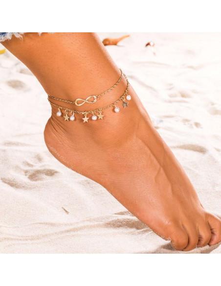 Bratara de glezna, dubla, cu infinit, perle si stelute