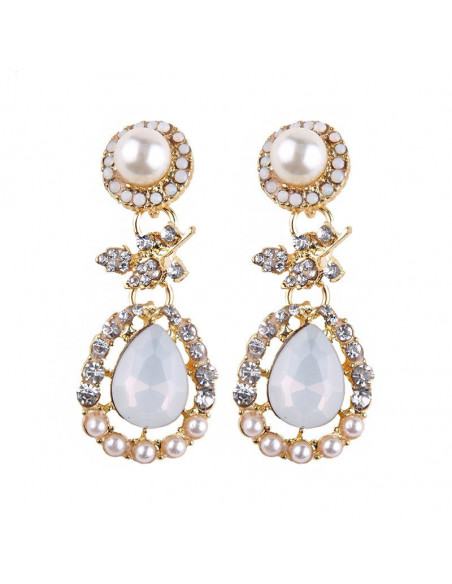 Cercei eleganti Pearl Drops, picaturi cu cristale si perle albe