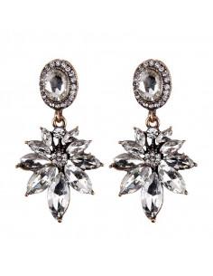 Cercei eleganti Ice Lily, flori din cristale cat eye si medalioane ovale