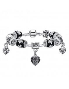Bratara tip Pandora, cu 3 inimioare, flori si email alb-negru