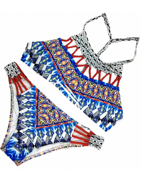 Costum de baie rosu/ alb cu bleu si imprimeu etnic, bustiera cu push up