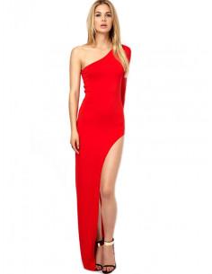 Rochie rosie lunga mulata, asimetrica, o maneca si slit pe laterala