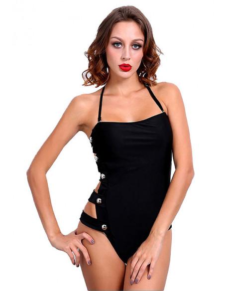 Costum de baie o piesa negru cu barete laterale si nasturi aurii