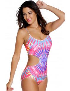 Costum de baie intreg cu imprimeu geometric multicolor si snur