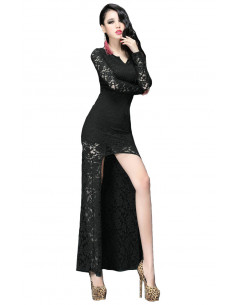 Rochie lunga de seara din dantela cu fusta asimetrica