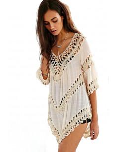 Bluza crem de plaja, benzi crosetate si panza topita semitransparenta