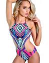 Costum de baie intreg, model boho multicolor roz/bleu