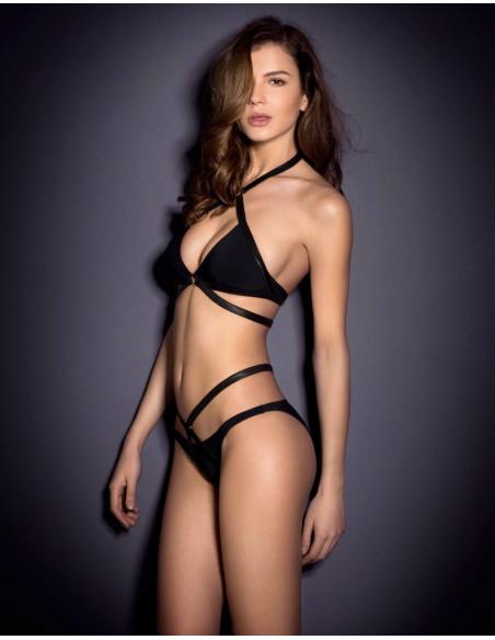 Costum de baie bandage negru, model cu barete prinse in inele aurii