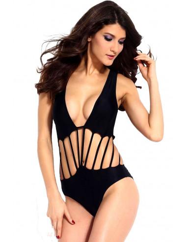 Costum de baie intreg negru, cu push up si snurulete pe abdomen