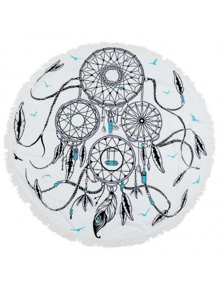 Cearceaf de plaja rotund cu dream catcher indian si franjuri
