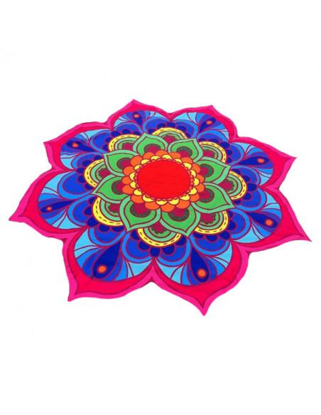 Cearceaf de plaja model floare de lotus cu petale colorate roz/albastru