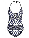 Costum de baie intreg, model geometric alb cu negru si bleumarin