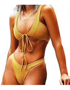 Costum de baie galben mustar, doua piese, slip inalt si sutien decoltat