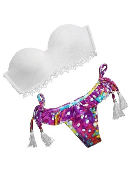 Costum de baie BOHO cu dantela si slip multicolor cu fustita si buline