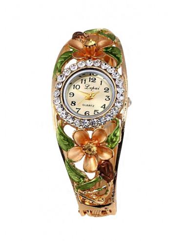 Ceas de mana bratara cu floare mare cu cristale si boboc, patru frunze verzi