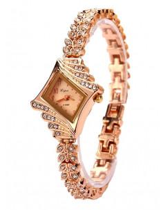 Ceas auriu cu bratara cu cristale si cadran romb