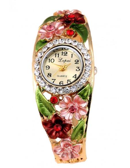 Ceas de mana bratara cu flori cu cristale si trei frunze verzi