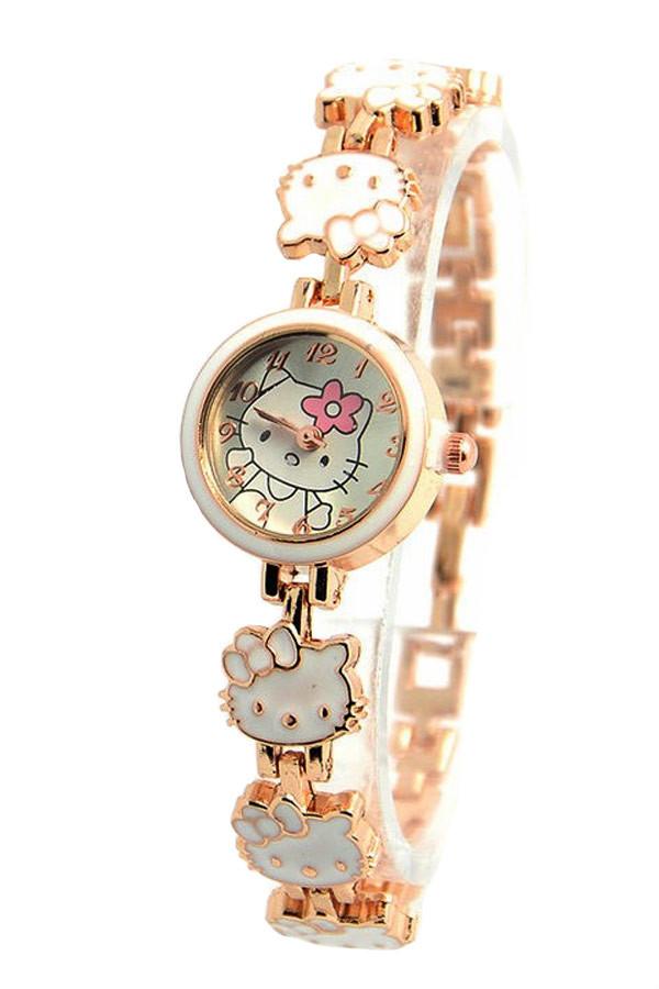 Ceas auriu cu pisicute Hello Kitty albe