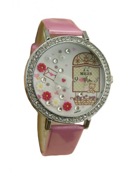 Ceas elegant, cadran mare decorat cu cristale si elemente florale