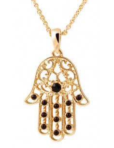 Lantisor subtire auriu cu medalion Hamsa cu margelute