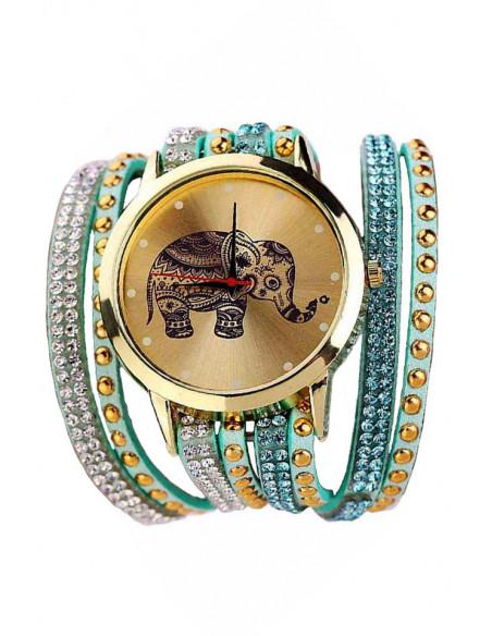 Ceas cu elefant indian si curea impletita pe mana cu cristale colorate