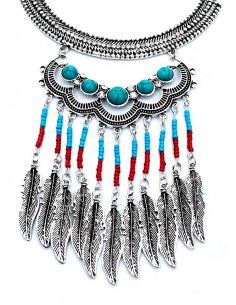 Lant argintiu model indian cu margele si pene