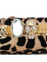 Clutch foarte elegant, auriu cu imprimeu leopard si capete de schelet