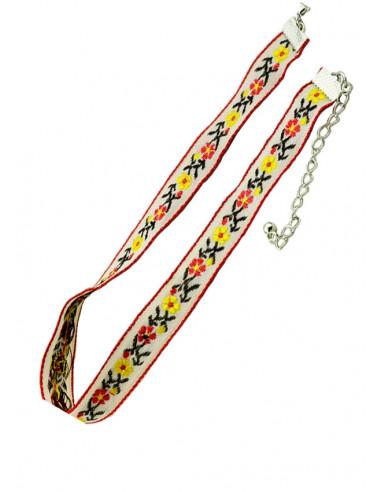 Colier choker etnic colorat, model crem cu flori