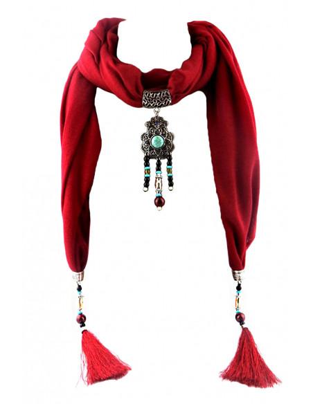 Esarfa de dama cu canafi si medalion indian cu floare turcoaz
