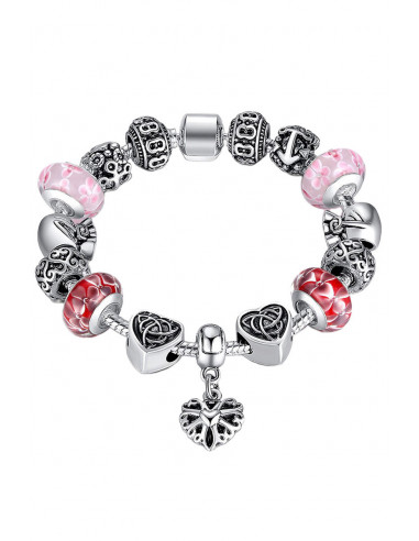 Bratara placata cu argint tip Pandora, cu inimioare si sticla de Murano
