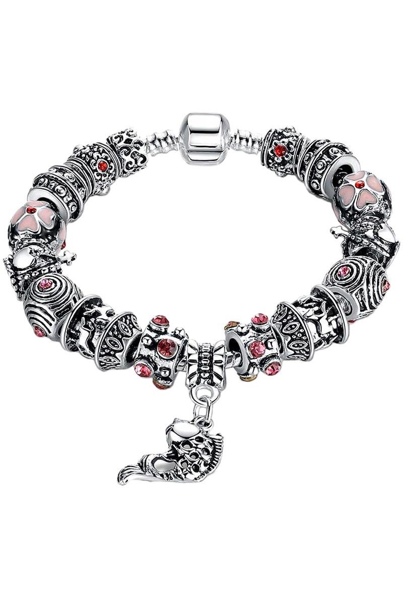 Bratara placata cu argint tip Pandora, Lucky Fish cu carusel si cristale