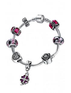 Bratara placata cu argint tip Pandora, Trifoi roz si sticla de Murano