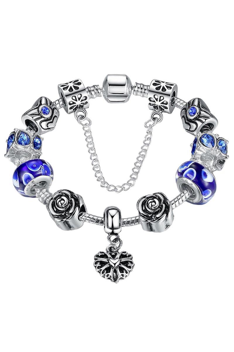 Bratara placata cu argint tip Pandora, cu inimioara si sticla de Murano