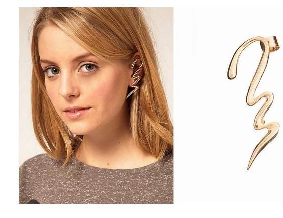 Cercei tip ear cuff, model fantezie in zig-zag, prindere dubla, pe ureche