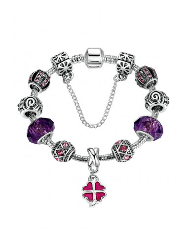 Bratara placata cu argint tip Pandora, Trifoi si cristale mari
