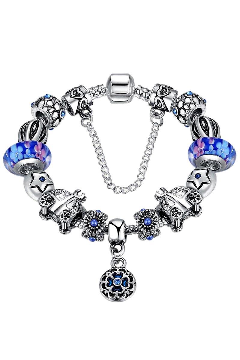 Bratara placata cu argint tip Pandora, sticla Murano cu trasuri si floare